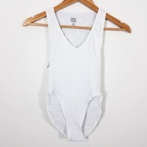 BDG Urban Outfitters Markie White Ribbed Bodysuit